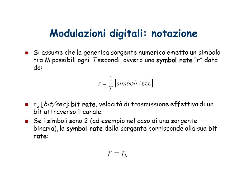Modulazioni digitali: notazione