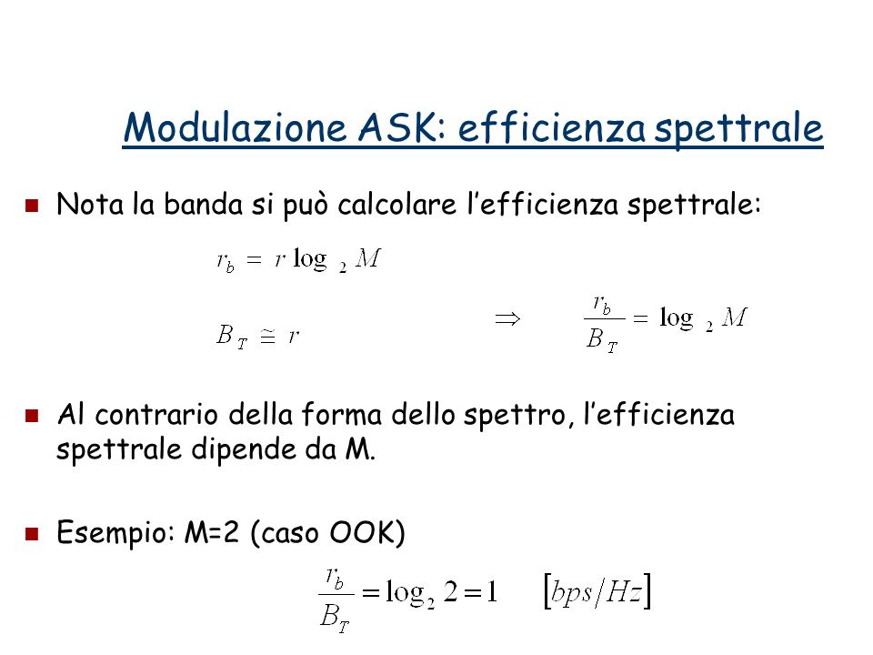 Modulazione ASK: efficienza spettrale