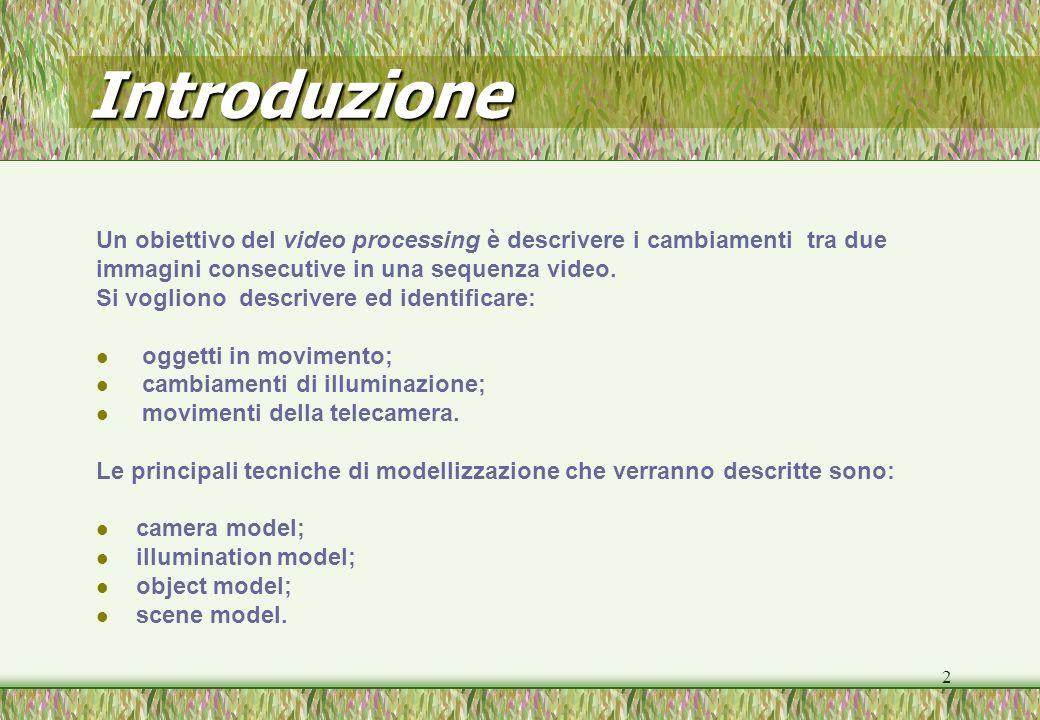 Introduzione Un obiettivo del video processing è descrivere i cambiamenti tra due. immagini consecutive in una sequenza video.