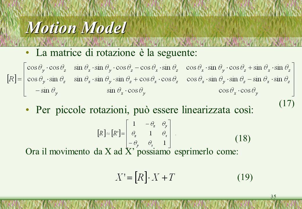 Motion Model La matrice di rotazione è la seguente: