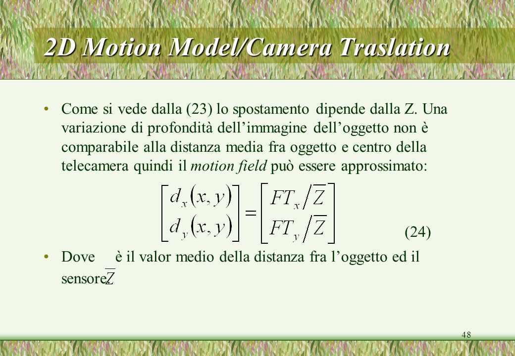 2D Motion Model/Camera Traslation