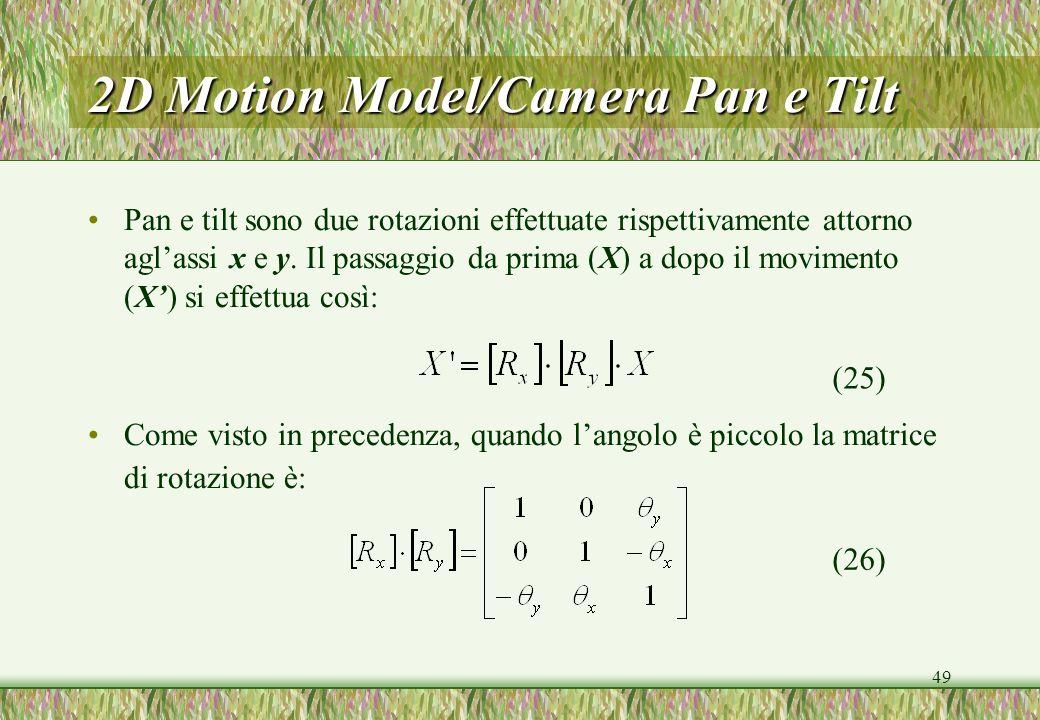 2D Motion Model/Camera Pan e Tilt