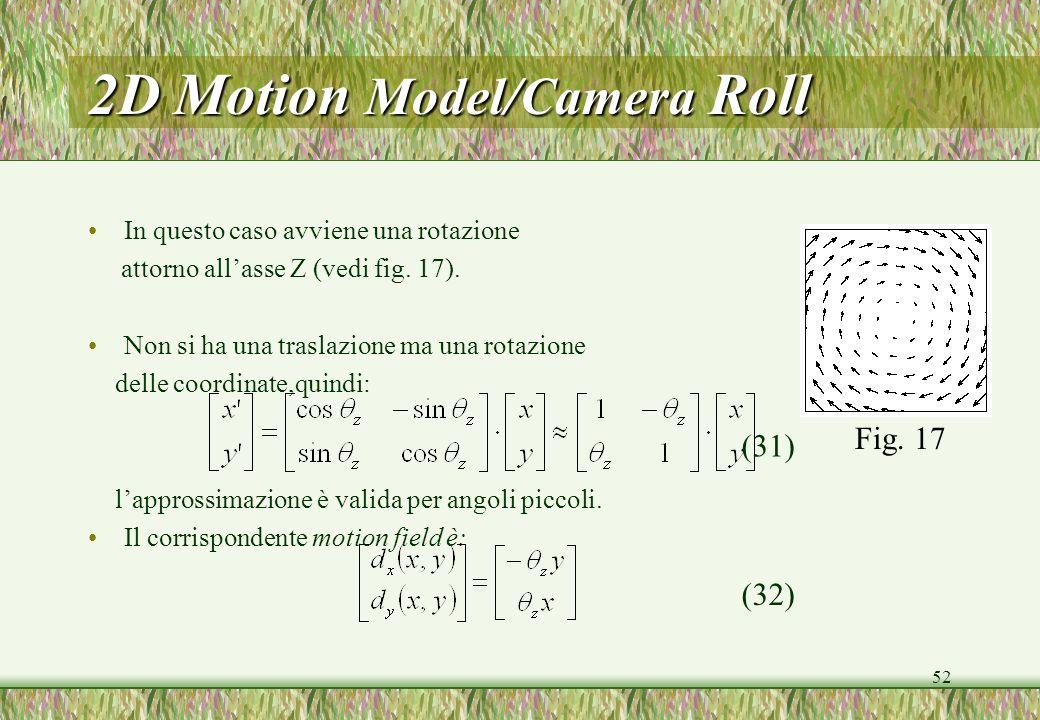 2D Motion Model/Camera Roll