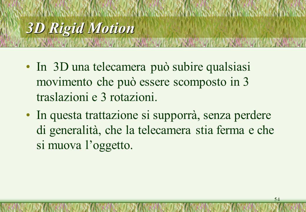 3D Rigid Motion In 3D una telecamera può subire qualsiasi movimento che può essere scomposto in 3 traslazioni e 3 rotazioni.