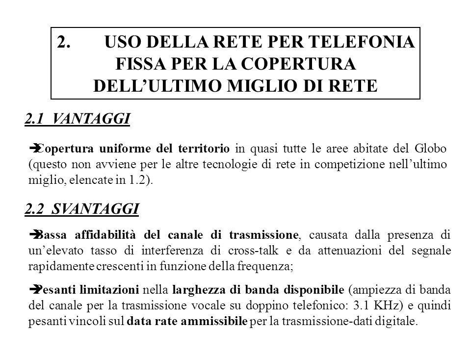 2. USO DELLA RETE PER TELEFONIA FISSA PER LA COPERTURA DELL'ULTIMO MIGLIO DI RETE