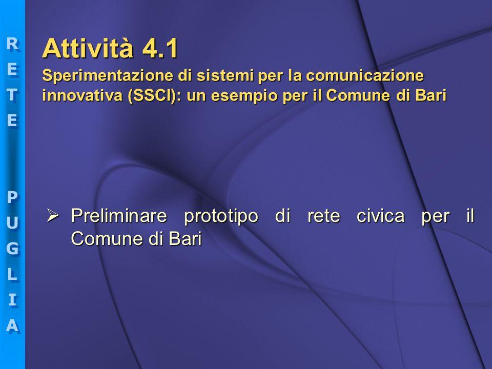 Attività 4.1 Sperimentazione di sistemi per la comunicazione innovativa (SSCI): un esempio per il Comune di Bari.