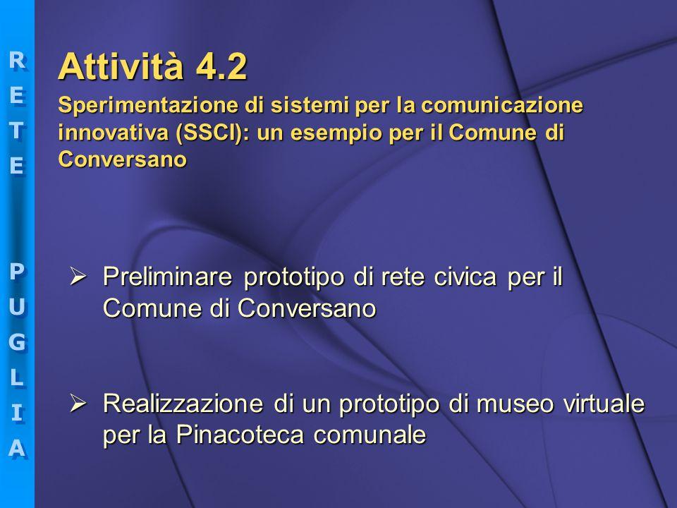 Attività 4.2 Sperimentazione di sistemi per la comunicazione innovativa (SSCI): un esempio per il Comune di Conversano.