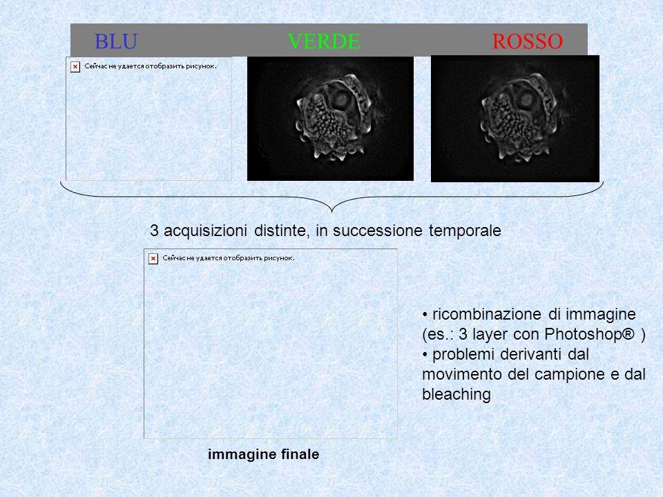 BLU VERDE ROSSO 3 acquisizioni distinte, in successione temporale