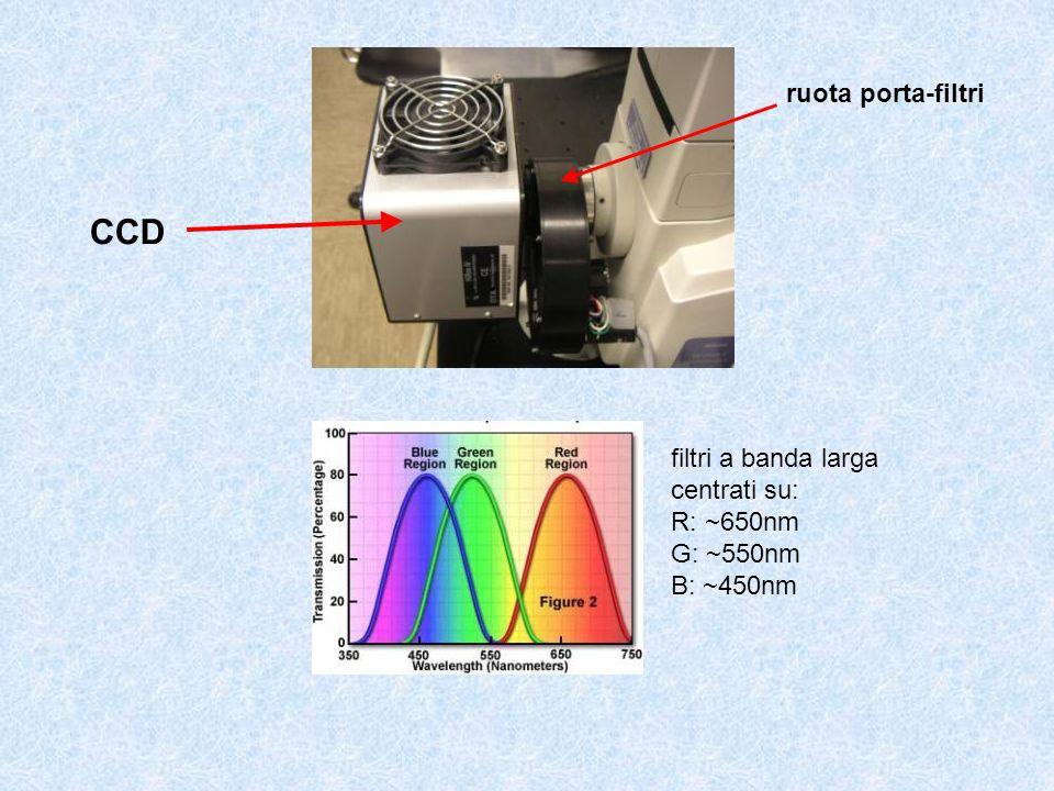 CCD ruota porta-filtri filtri a banda larga centrati su: R: ~650nm