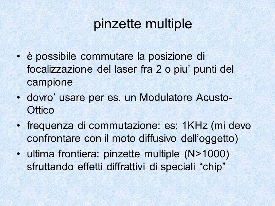 pinzette multiple è possibile commutare la posizione di focalizzazione del laser fra 2 o piu' punti del campione.