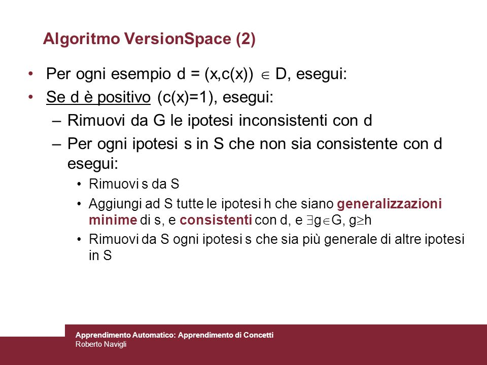 Algoritmo VersionSpace (2)