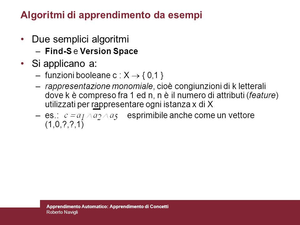 Algoritmi di apprendimento da esempi