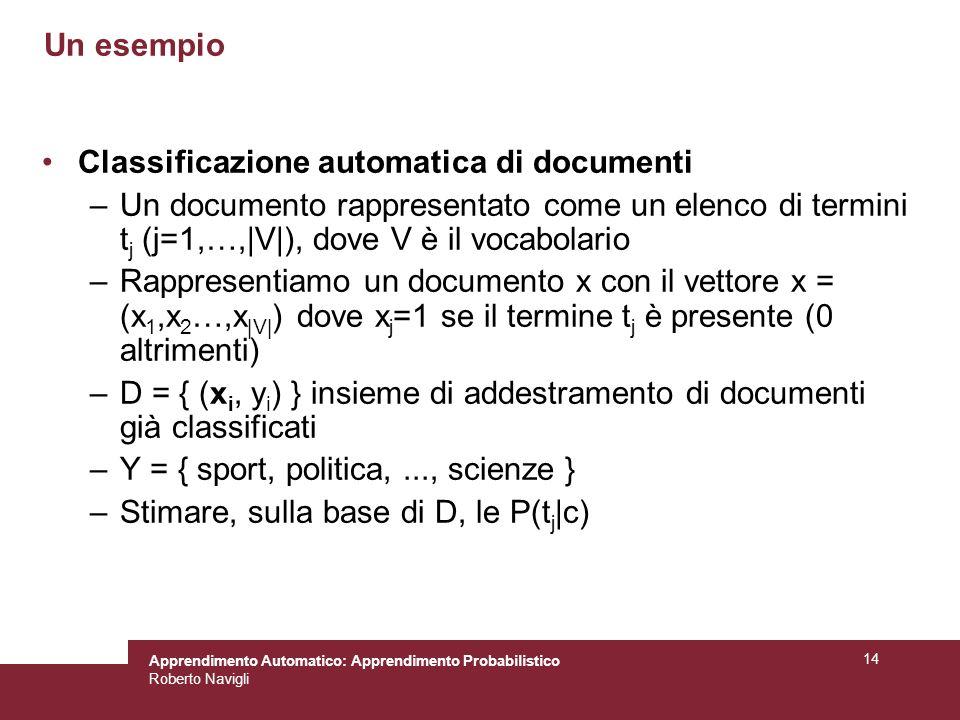 Un esempio Classificazione automatica di documenti. Un documento rappresentato come un elenco di termini tj (j=1,…,|V|), dove V è il vocabolario.
