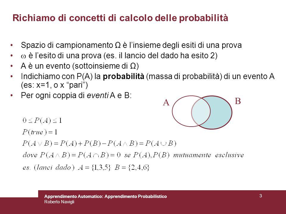 Richiamo di concetti di calcolo delle probabilità
