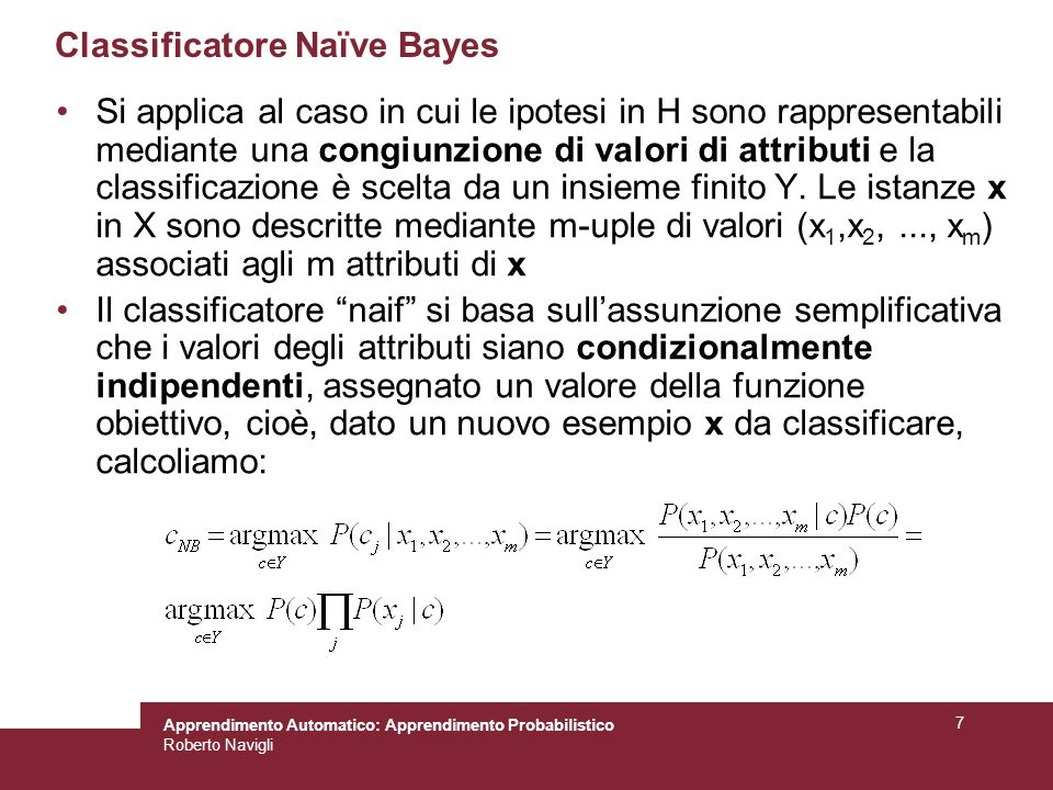 Classificatore Naïve Bayes