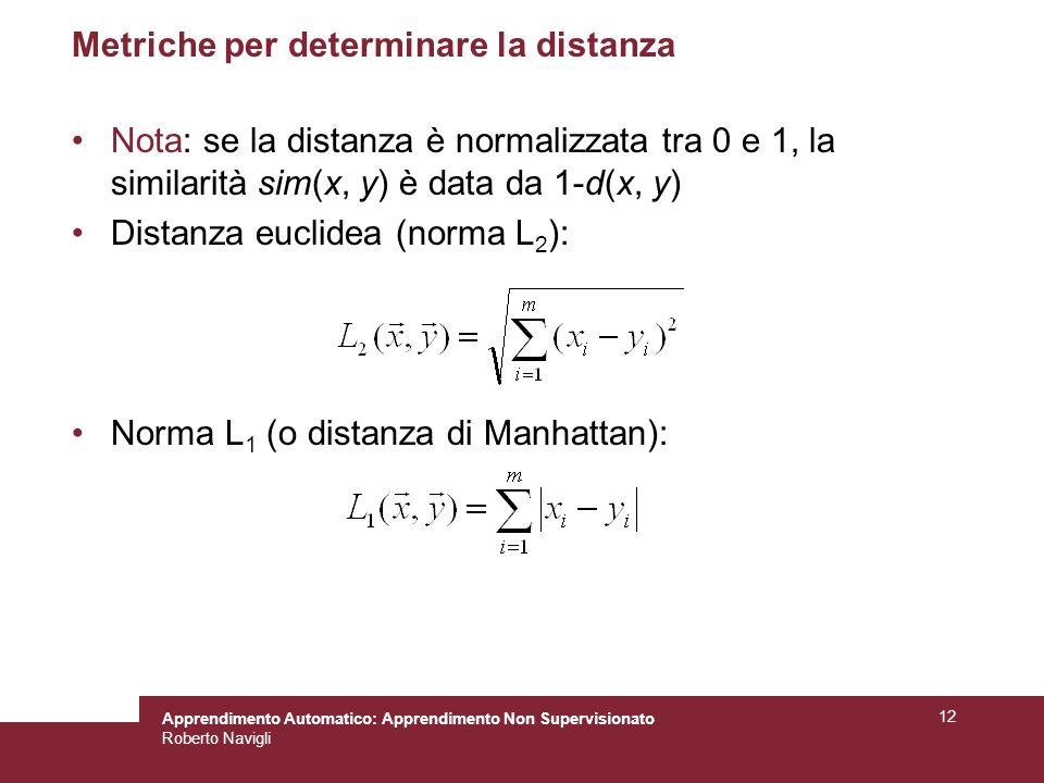 Metriche per determinare la distanza