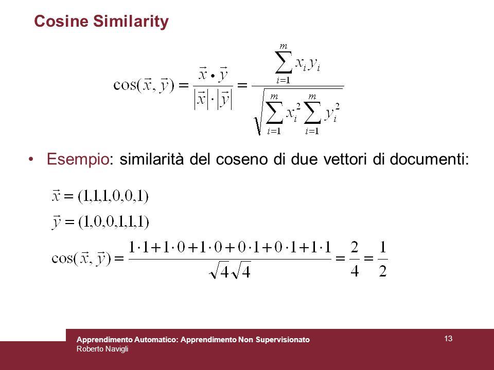 Cosine Similarity Esempio: similarità del coseno di due vettori di documenti: