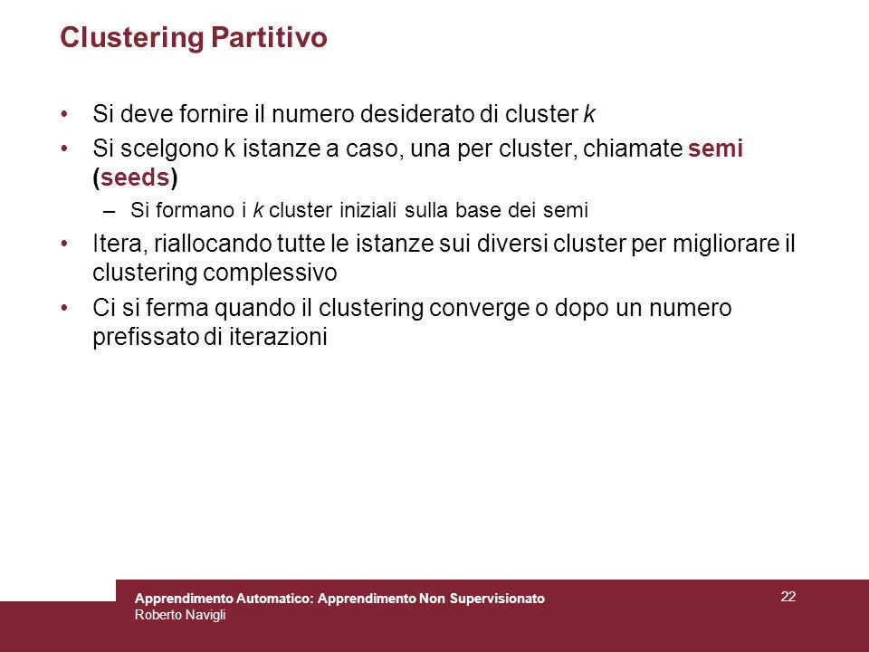 Clustering Partitivo Si deve fornire il numero desiderato di cluster k