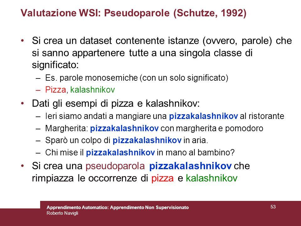 Valutazione WSI: Pseudoparole (Schutze, 1992)
