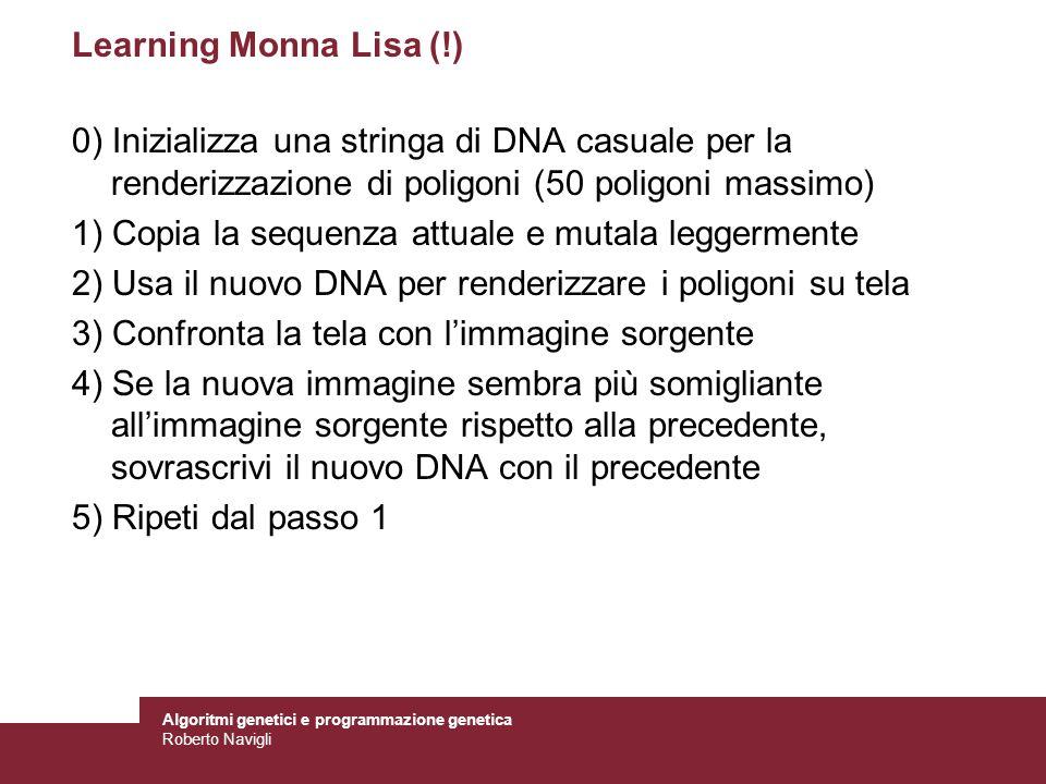 Learning Monna Lisa (!) 0) Inizializza una stringa di DNA casuale per la renderizzazione di poligoni (50 poligoni massimo)