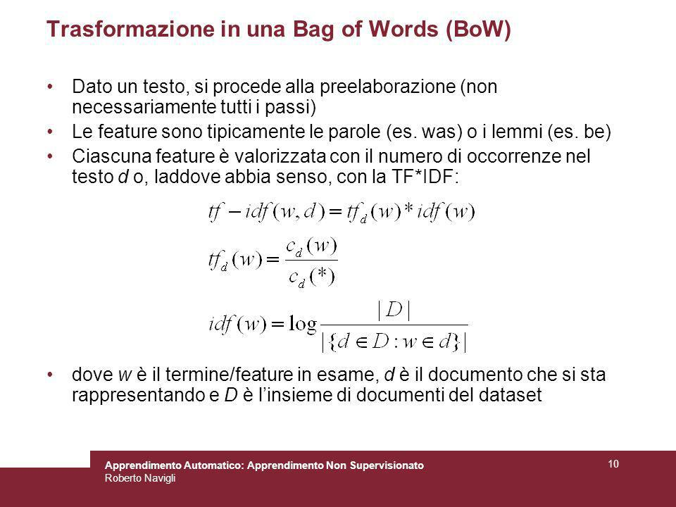 Trasformazione in una Bag of Words (BoW)