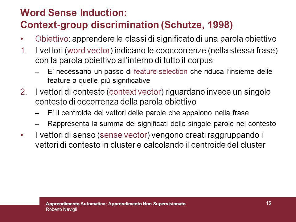 Word Sense Induction: Context-group discrimination (Schutze, 1998)