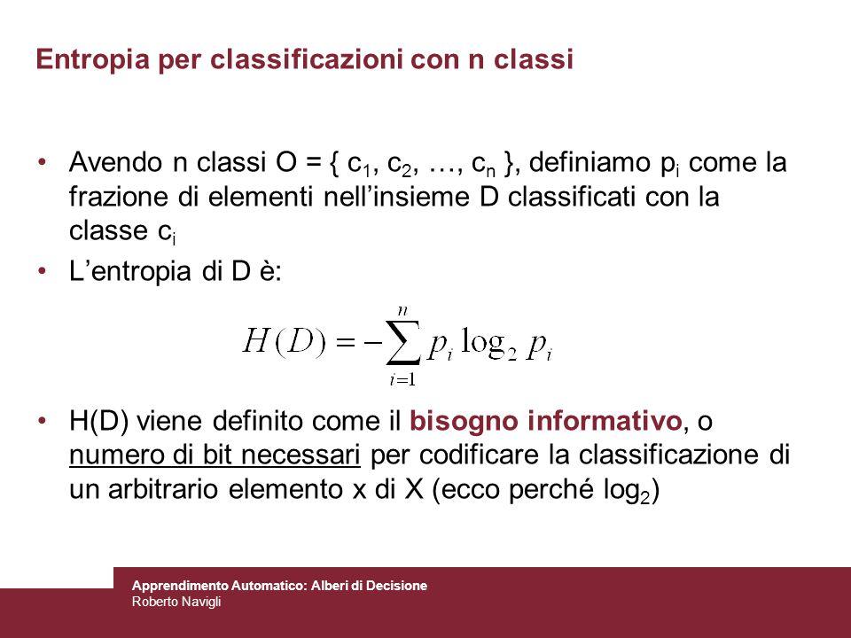 Entropia per classificazioni con n classi