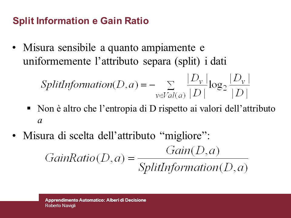 Split Information e Gain Ratio