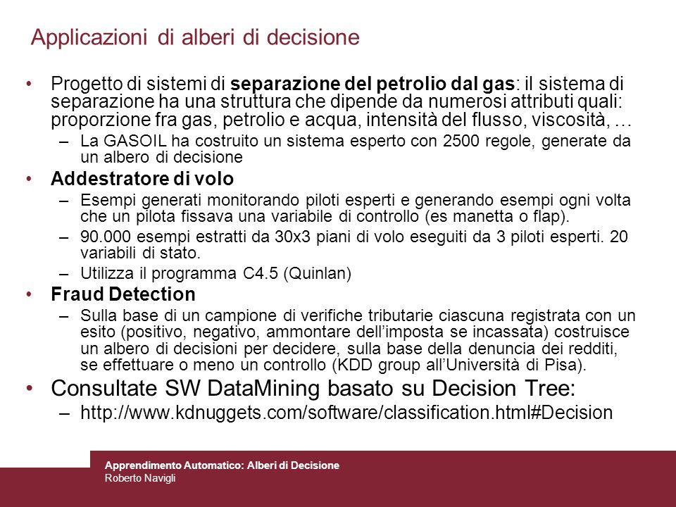 Applicazioni di alberi di decisione