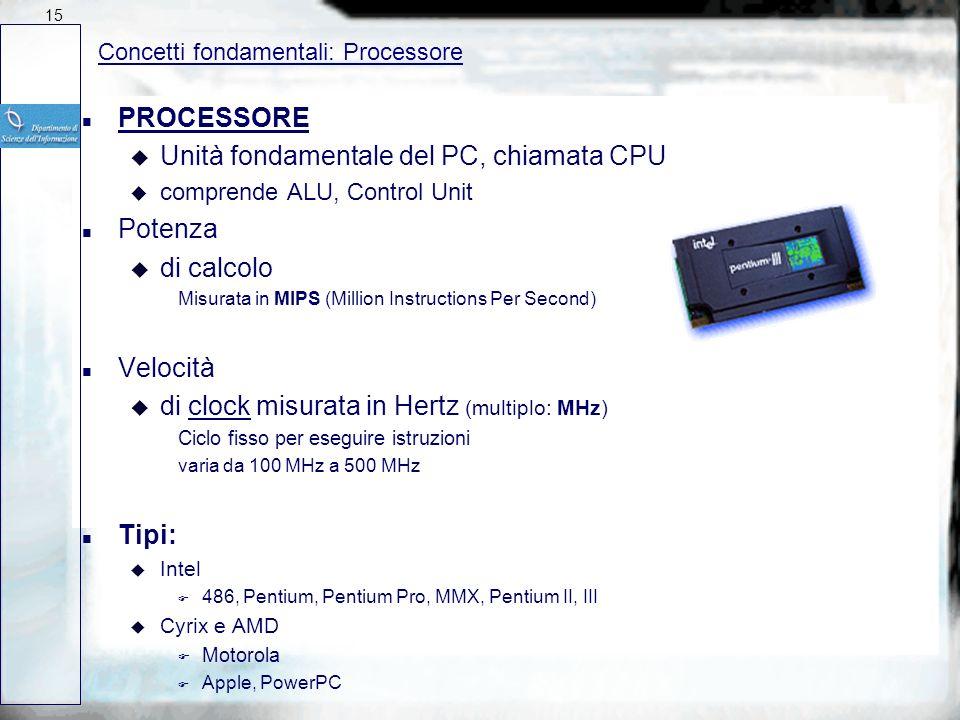 Unità fondamentale del PC, chiamata CPU Potenza di calcolo