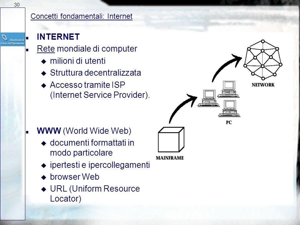 Rete mondiale di computer milioni di utenti Struttura decentralizzata