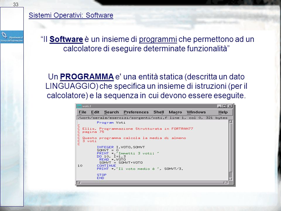 3327/03/2017. Sistemi Operativi: Software.
