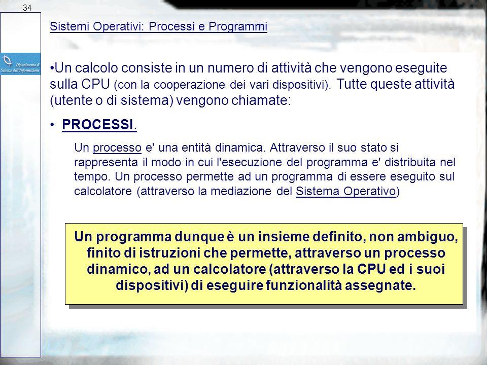 34 27/03/2017. Sistemi Operativi: Processi e Programmi.