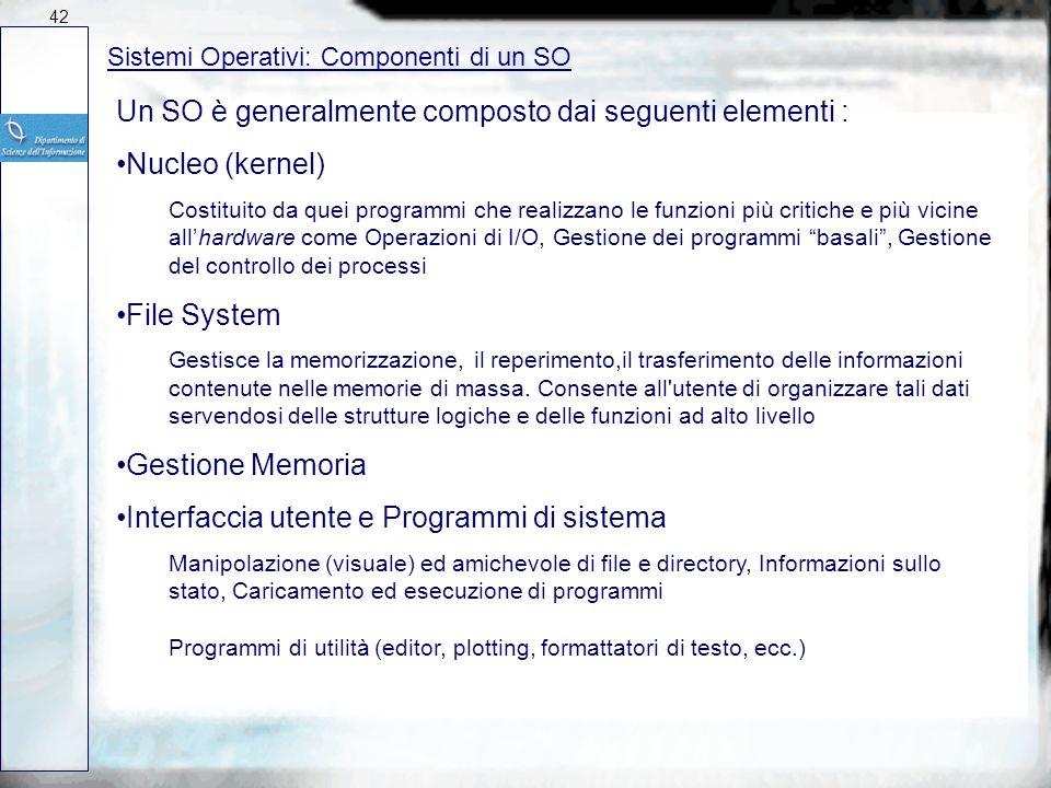 Un SO è generalmente composto dai seguenti elementi : Nucleo (kernel)
