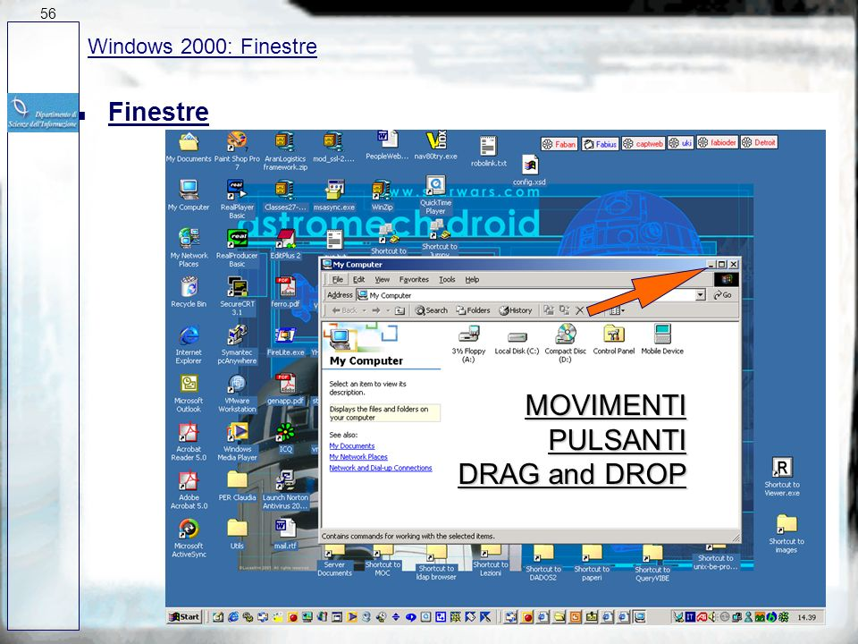 MOVIMENTI PULSANTI DRAG and DROP Finestre Windows 2000: Finestre 56