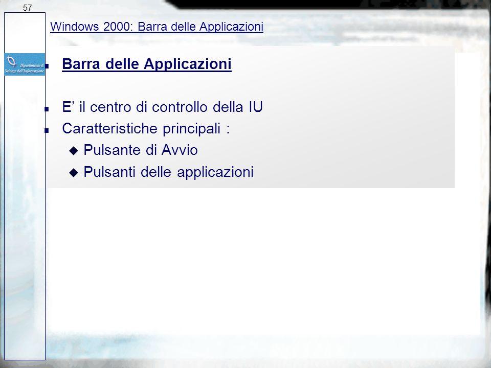 Barra delle Applicazioni E' il centro di controllo della IU