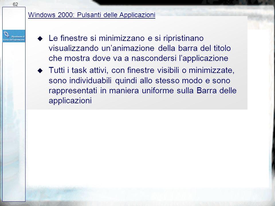 62 27/03/2017. Windows 2000: Pulsanti delle Applicazioni.