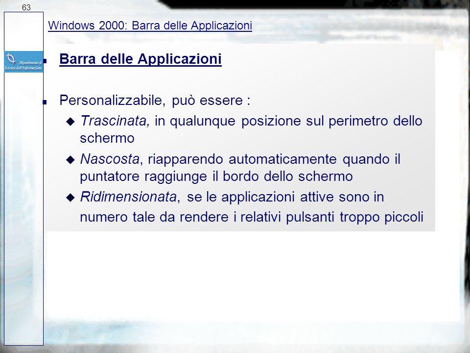 Barra delle Applicazioni Personalizzabile, può essere :