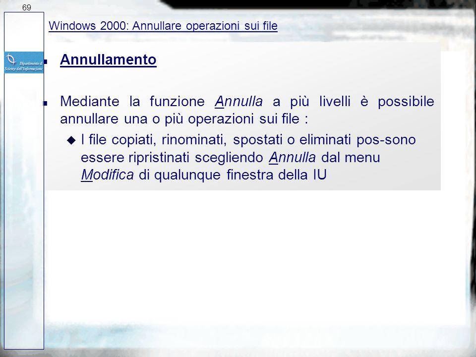 69 27/03/2017. Windows 2000: Annullare operazioni sui file. Annullamento.
