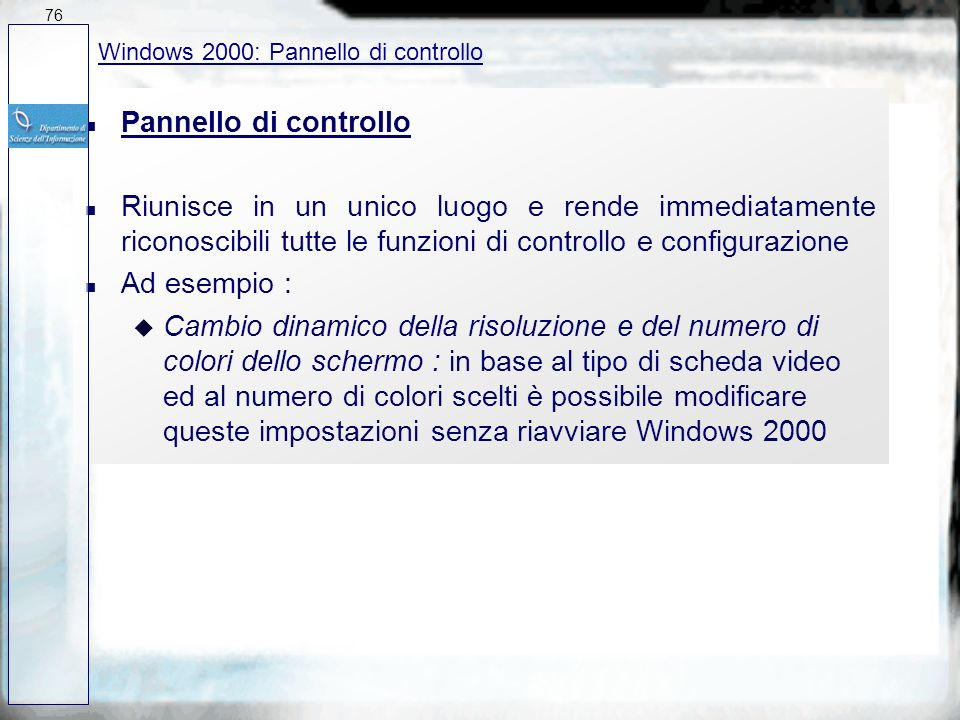 7627/03/2017. Windows 2000: Pannello di controllo. Pannello di controllo.
