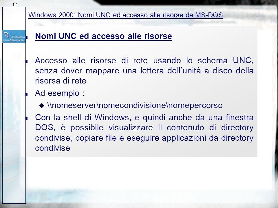 Nomi UNC ed accesso alle risorse