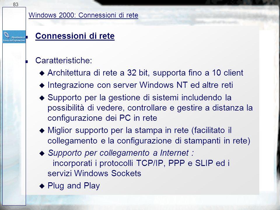 Architettura di rete a 32 bit, supporta fino a 10 client