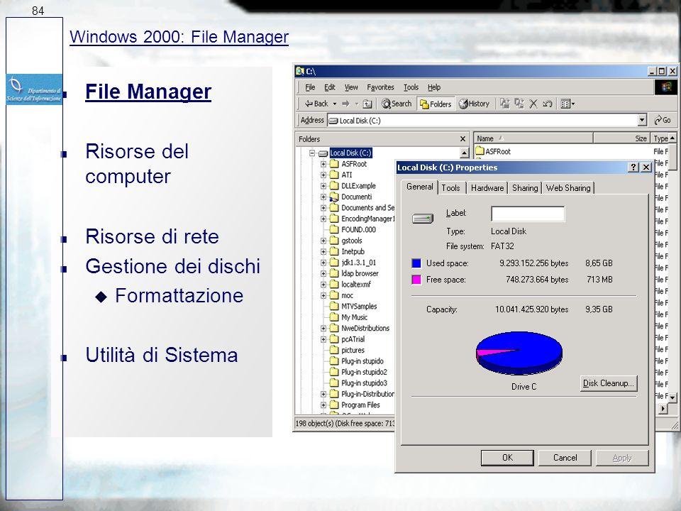 File Manager Risorse del computer Risorse di rete Gestione dei dischi