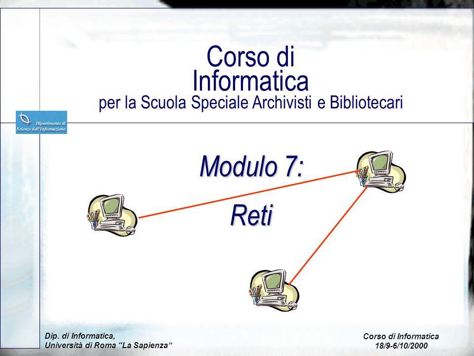 Corso di Informatica per la Scuola Speciale Archivisti e Bibliotecari