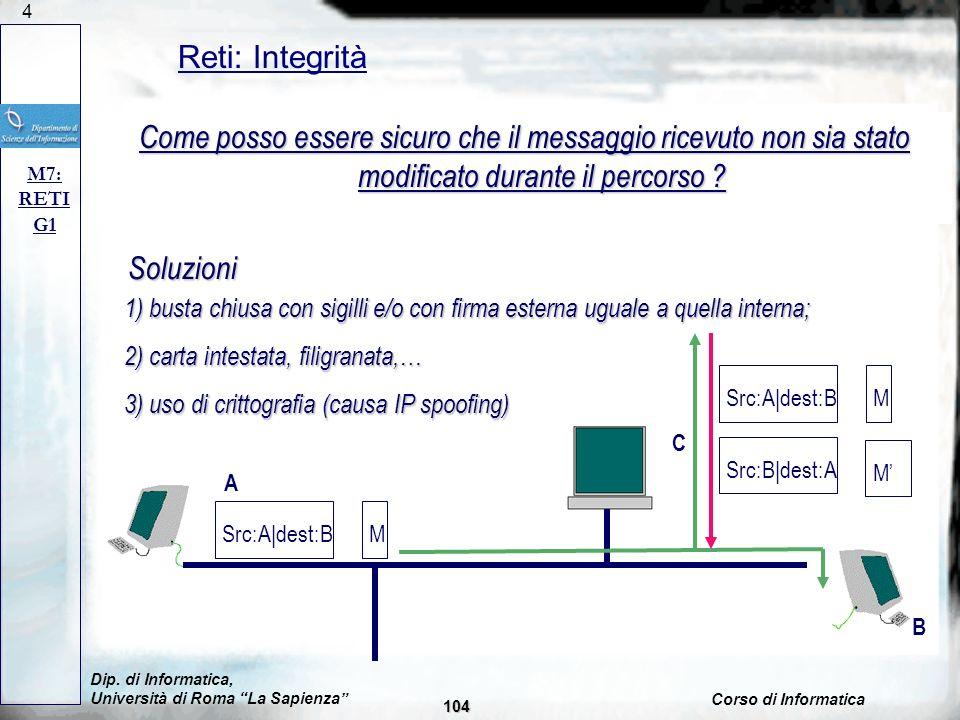 Problema: intercettazione di messaggi;