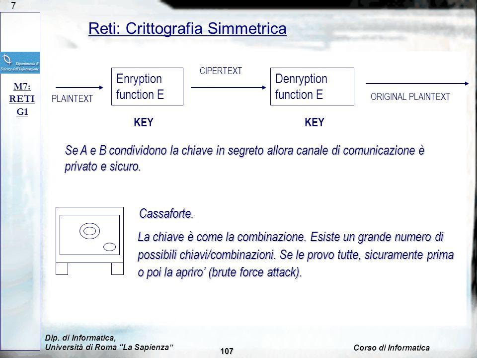 Reti: Crittografia Simmetrica