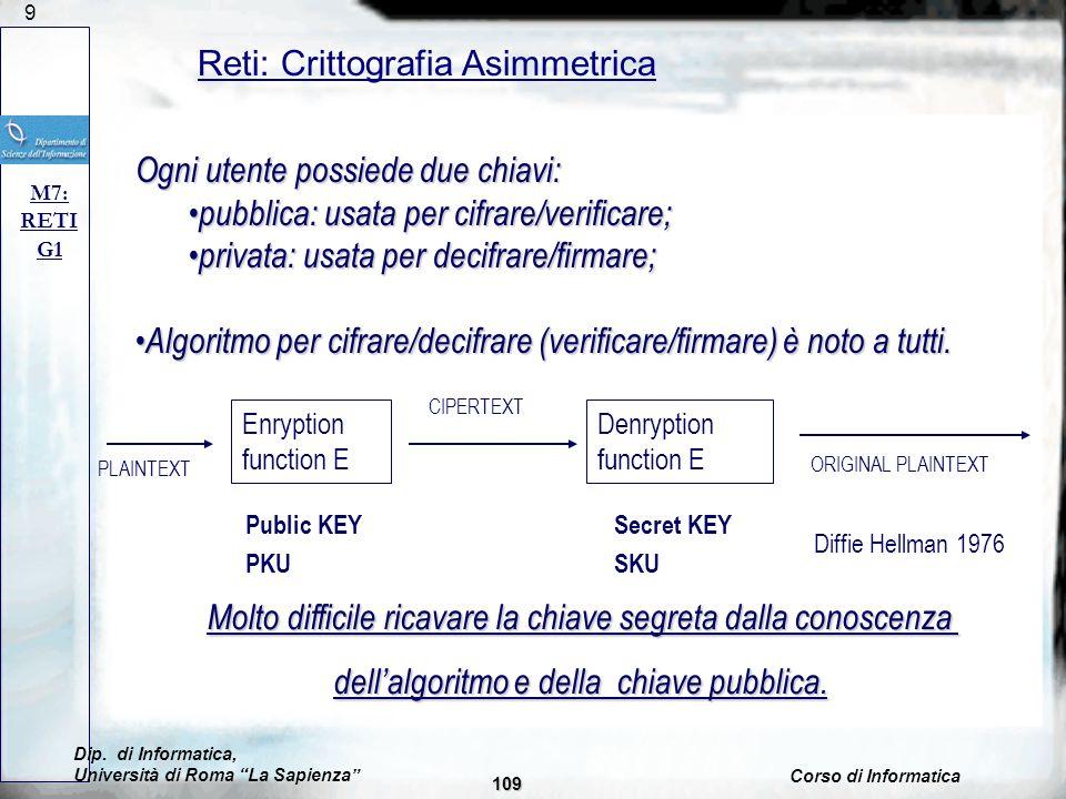 Reti: Crittografia Asimmetrica