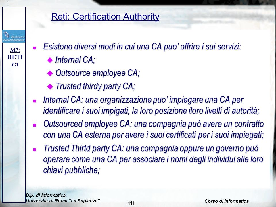 Reti: Certification Authority