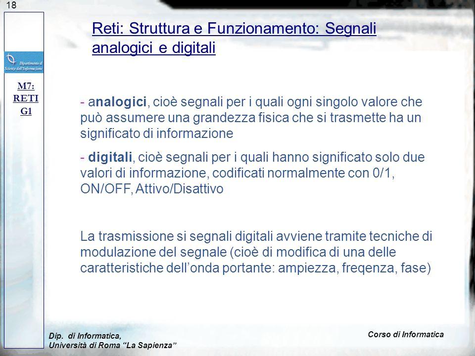 Reti: Struttura e Funzionamento: Segnali analogici e digitali