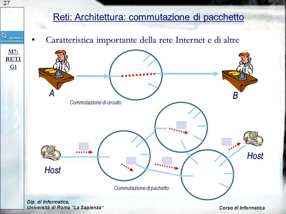 Reti: Architettura: commutazione di pacchetto